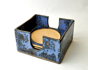 Ceramic Coasters with Holder (Set of 4) Cobalt blue handmade stoneware cup rests