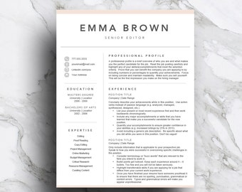 Creative Resume Template For Word U0026 Pages (includes 1 And 2 Page Resume,  Cover