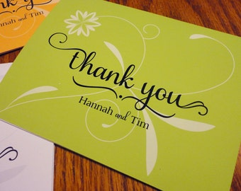 Personalized Thank You Notes - Thank You Cards - Shower, Wedding Thank you cards - Whimsical Thank you cards