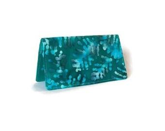 Checkbook Cover - Fabric Checkbook Cover - Chequebook Cover - Gift Idea for Her  - Green Batik - Purse Organizer - Gift Idea Under 10