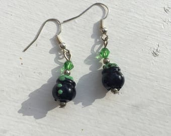 Caulderon Earrings - witch's brew- green and black- free shipping