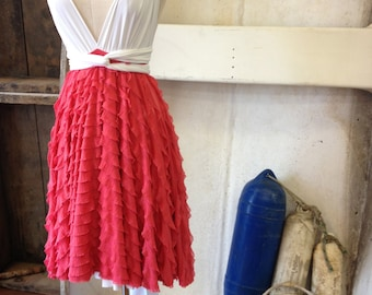Carnival Coral Ruffle-Octopus Convertible Wrap-Short Full Circle Skirt-Bridesmaids Dress