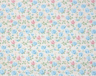 1950s Vintage Wallpaper by the Yard - Floral Wallpaper with Pink and Blue Mini Floral Chintz on White