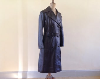 1970's trench coat, amazing condition, buttery leather, belted, seventies, 1970's coat, fitted,