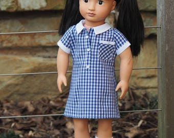 Custom made school dress for 18 inch doll from your daughter's recycled school dress