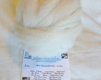2 oz Alpaca Beige SUPERFINE Roving - from our boy Berberis - for Spinning, Nuno Felting or Needlefelting