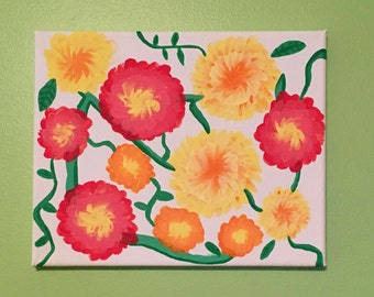 Marigolds Canvas Painting; Canvas Painting; Acrylic Painting; Flower Painting; Red, Orange, and Yellow Painting