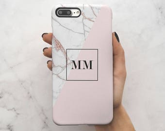 Personalized Rose Gold Pink Marble Initials Name Letters Custom Customizable Personal Protective Hard Case Cover For iPhone 7 iPhone 8 | C33