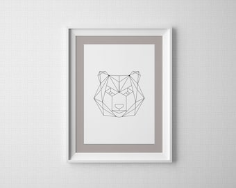 Geometric Bear Digital Print, Wall Decor, Print, Minimalist, Black and White