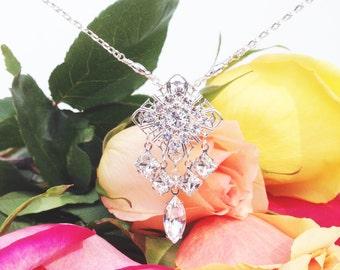 Art deco crystal bridal necklace, filigree wedding pendant, vintage wedding jewelry, Swarovski crystal necklace, rhinestone bridal jewelry
