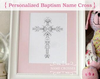 Personalized Baptism Name Cross print ORIGINAL  - 5x7 - FREE SHIPPING