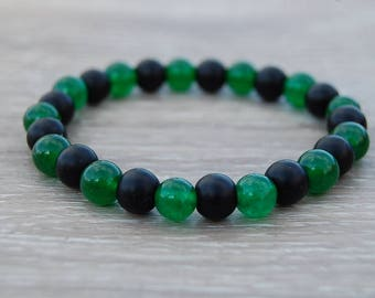 Black Onyx Bracelet,Black and Green Gemstone 8mm Beads,Onyx Bracelet,8mm Onyx Beads,Boho,Yoga Bracelet,Men,Woman,Protection,Meditation,Gift