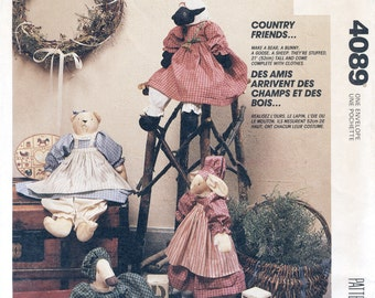 """Country Friends Animal Dolls & Clothes Sewing Pattern McCall's 4089 UNCUT Rabbit, Bear, Goose, Lamb, 20"""" Dolls, Home Cottage Farmhouse Decor"""