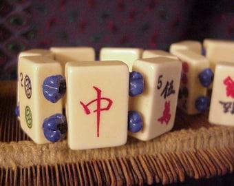 White lucite Mah Jong Bracelet with blue glass beads