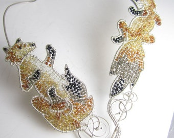 Tumble in the Field Necklace - Multi-Gem wire-wrapped foxes OOAK and sterling silver