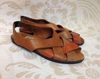 Nine West Camel Brown Woven Sandals Brown Leather Open Toe Flat US 6,5 EU 37 UK 4,5