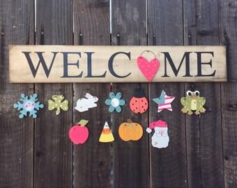 Farmhouse style Seasonal Welcome Sign