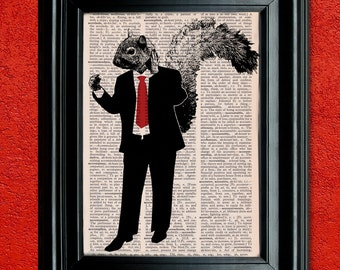 Dictionary Print: Business Squirrel, Wall Decor, Recycled Dictionary Paper ZRP9079