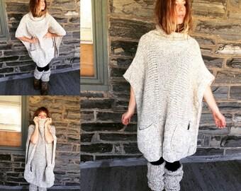OVERSIZE PONCHO, SWEATER, womens sweater, womens poncho,  cowl neck poncho, plus size womens clothing,  winter clothing, poncho, sweater