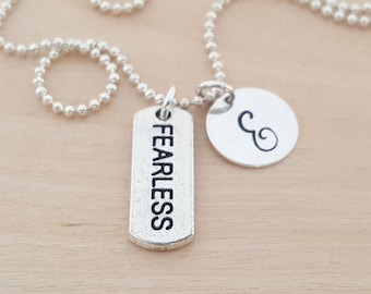 Fearless Necklace - Personalized Necklace - Custom Initial Necklace - Initial Jewelry - Monogram Necklace - Gift for Her
