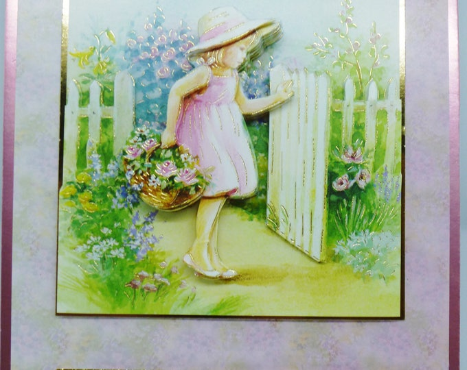 3 D Decoupage Card, Little Girl at the Gate, Birthday Card, Greeting Card, Any Age, Female Card, Card For Mum, Sister Birthday Card,