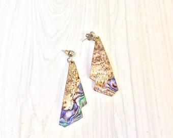 Abalone Shell Earrings | Vintage Jewelry | Abalone | Vintage Earrings | Iridescent | Purple | Blue | Green | Shell Jewelry | Handmade