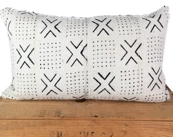 Mud Cloth Pillow Cover Cambria White African Mudcloth Pillow 12x20 Inch