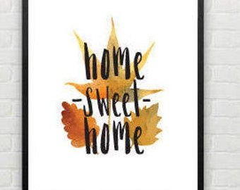 Home Sweet Home Family Autumnal Botanical Leaves Print