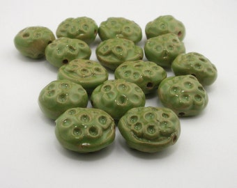 Green Beads, Green Ceramic Beads, dark green beads, pottery beads, artist beads, seapod beads, avocado green beads, dotted beads bead set