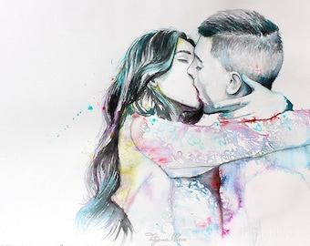 Couple portrait watercolor art print. Wall art, wall decor, digital print. With You . Love passion