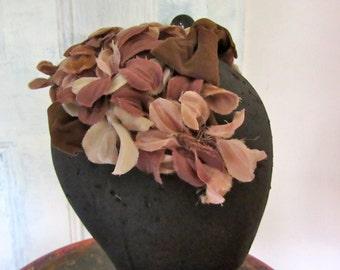 Vintage Brown Velvet Headband Hat - Fascinator - Wire Frame - Floral Hat -Velvet Bow - Leaves