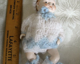 Vintage Shackman Bisque Baby Doll Hand Crocheted Dress Hat & Booties