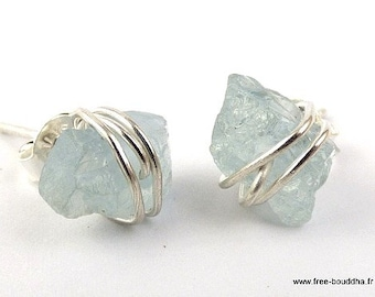 Stud Earrings aquamarine brue, natural stone, Aquamarine earrings, aquamarine jewels, natural stone aje1.9