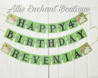 Princess and the Frog Girls Birthday banner , Happy Birthday Banner,  Tiana Banner, Birthday Banner