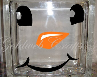 DIY Decal for Glass Blocks - Snow Man Winter Holiday Glass Block Deca