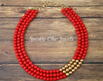 Red and Gold Statement Necklace, multi strand, jewelry, red necklace, brideamaid necklace, wedding jewelry, gifts
