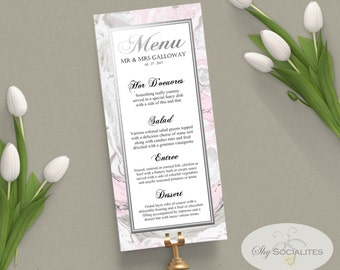 Marble Wedding Menu | Pink and Grey, Pink and Gray, Printable Menu | INSTANT DOWNLOAD PDF