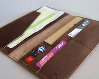 The Skye - Passport and Boarding Pass Cover, Travel Organizer, in Horween Chromexcel Leather in a Chestnut Brown Color