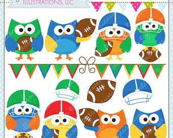 Football Owls Cute Digital Clipart - Commercial Use OK - Football Graphics, Football Clipart, Football OWL