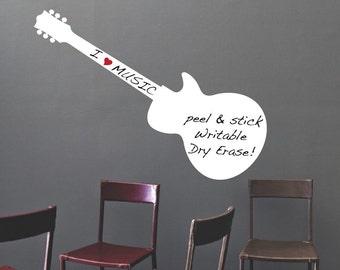 Dry Erase Decal, Guitar Dry Erase Design, Guitar Dry Erase Wall Mural, Dry Erase Wall Decor, Removable Guitar Dry Erase Adhesive, Music, b64