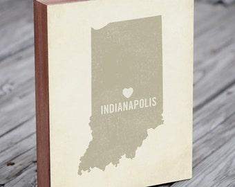 Indianapolis Skyline - Indianapolis Art - Indianapolis Map - Wood Block Art Print
