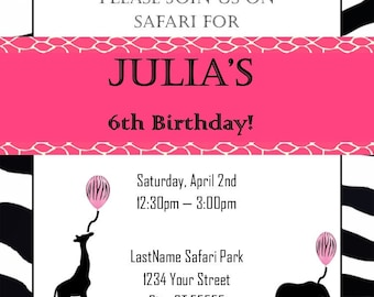Girl's Safari or Zoo party invitation - digital printable file