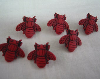 Red Button, Bee button,  Shape of Bee- Lot of 6