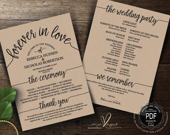 Wedding Program PDF card template, instant download editable printable, Ceremony order card in typography rustic theme (TED410_4)