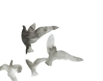 birds in flight no. 1 . giclee fine art print of watercolor