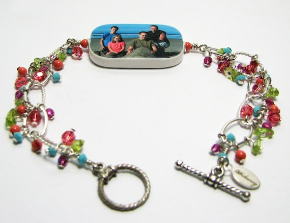 Custom Photo Charm Bracelet with dangles of Crystals, Pearls & Peridot - P1RB5a