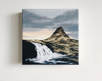 Sunrise over Kirkjufell - Iceland Painting - Icelandic Waterfall - Original Painting - Landscape Art
