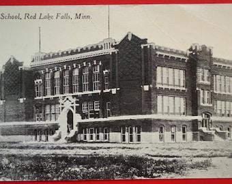 Red Lake Falls, #Minnesota, High School, Antique Postcard 1914