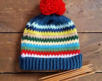 Knitting Pattern Scrappy Ski Hat Baby, Child,  Adult, Instant Download Adirondack Beanie Easy Beginner Knit