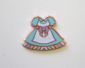 Lolita Dress Enamel Pin (Blue/Rose Gold)- Cute, Kawaii Ita Bag, Sweet Lolita, Pastel Rainbow, Pastelgoth, Brooch, Badge, Girl gang, Spring